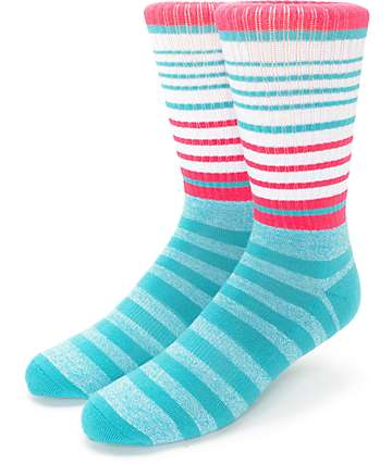 Zine Cornered Teal & Pink Crew Socks