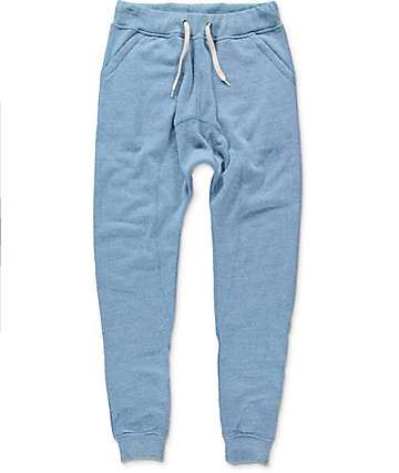 Zine Cover Triblend Blue Knit Jogger Pants