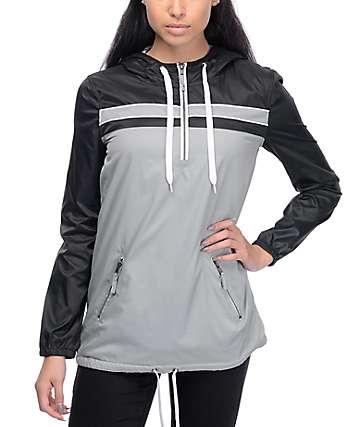 Zine Danni chaqueta cortavientos forrado en gris y negro