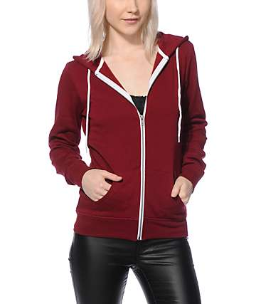 Zine Dark Red Zip Up Hoodie