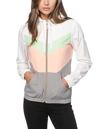Zine Delmar Coral & Mint Colorblock Windbreaker Jacket