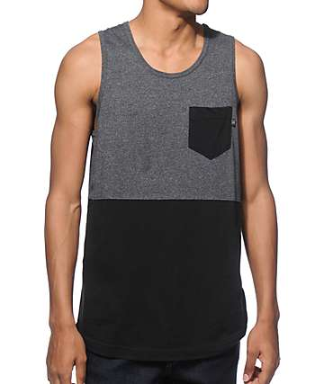 Zine Division Charcoal and Black 2 Tone Pocket Tank Top