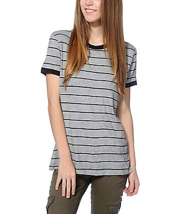 Zine Doris Black & Grey Stripe Ringer T-Shirt