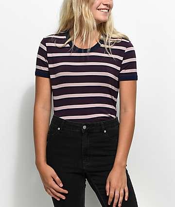 Zine Doris camiseta ringer a rayas en color borgoño y malva