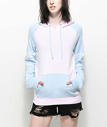 Zine Elna Pink & Blue Colorblock Hoodie
