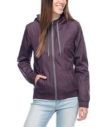 Zine Etta Blackberry Quilted Lined Windbreaker Jacket