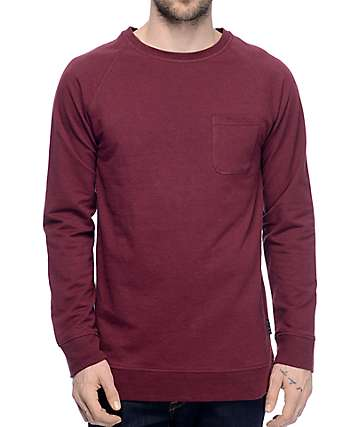 Zine Fireside camiseta de manga larga con bolsillo en color borgoño