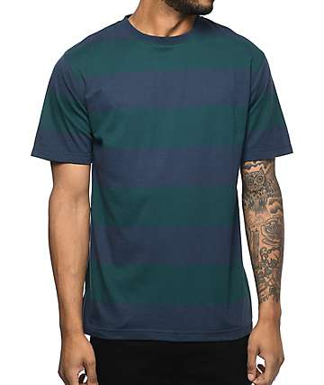 Zine Fitter Stripe Navy & Green T-Shirt