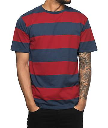 Zine Fitter Stripe Navy & Red T-Shirt