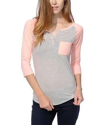 Zine Gamma Coral & Grey Henley Shirt