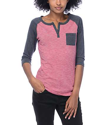Zine Gamma Red Micro Stripe Henley T-Shirt