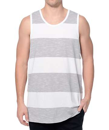 Zine Get Moving White and Grey Slub Stripe Tank Top