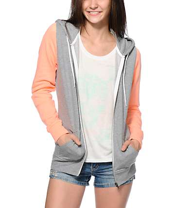 Zine Grey & Coral Colorblock Zip Up Hoodie