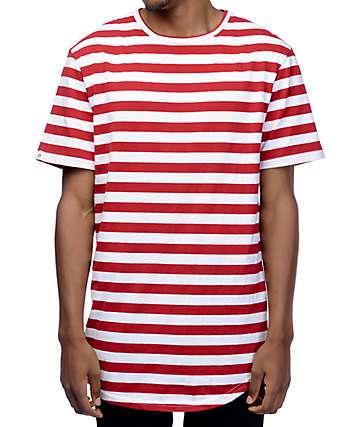 Zine Halfsies camiseta rayada en blanco y rojo