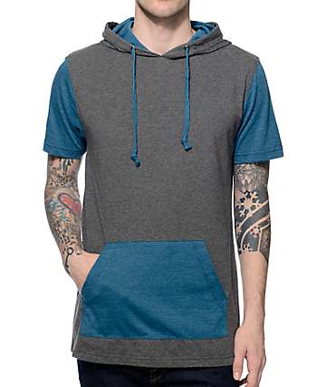 Zine Heading Home Grey & Blue Hooded Shirt