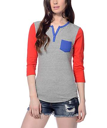 Zine Heather Grey, Navy & Red Baseball T-shirt