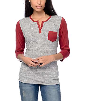 Zine Heather Grey 7 Red Baseball Henley Shirt