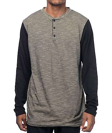 Zine Hokey Slub Black & Tan Henley T-Shirt