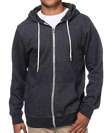 Zine Hooligan Heather Black Zip Up Hoodie