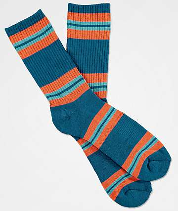 Zine Horizontal Legion Blue & Ochre Striped Crew Socks