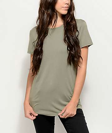Zine Jaeda camiseta extra grande en verde olivo