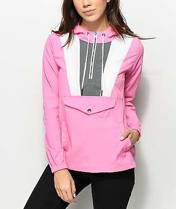 Zine Jensie Neon Pink Pullover Windbreaker Jacket