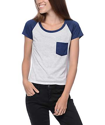 Zine Jimi Grey & Blue Crop Raglan T-Shirt