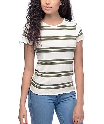 Zine Kajsa White & Olive Stripe T-Shirt