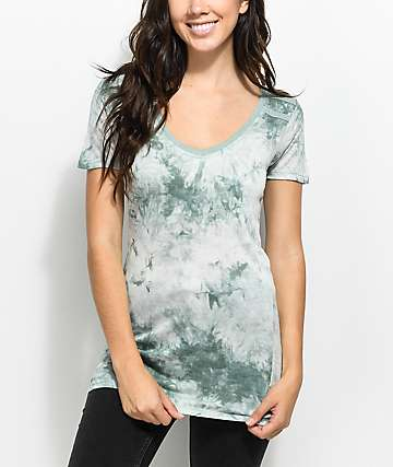 Zine Kalene Green Tie Dye V-Neck Ringer T-Shirt