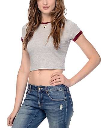 Zine Khan Grey & Red Trim Cropped T-Shirt