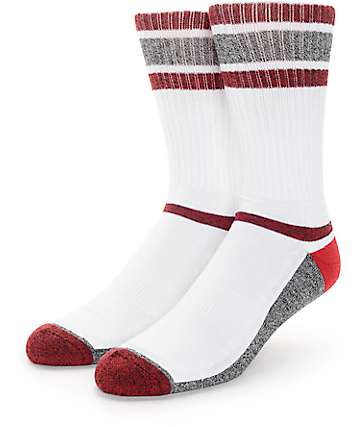 Zine Kick It Burgundy, White & Grey Crew Socks