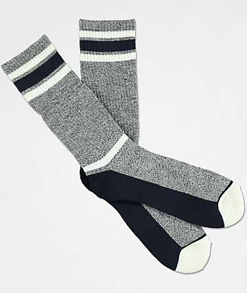 Zine Kick It Charcoal & Blue Crew Socks