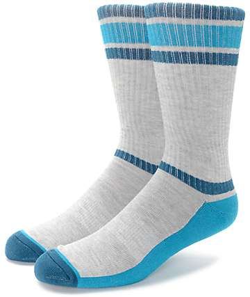 Zine Kick It Heather Grey, Teal & Navy Crew Socks