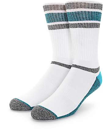 Zine Kick It White, Black & Teal Crew Socks