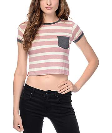 Zine Lambert Striped White & Red Cropped T-Shirt