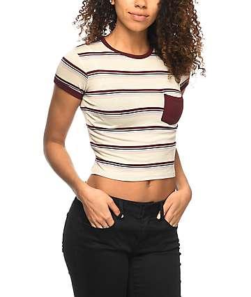 Zine Lambert camiseta ringer a rayas en colores vino y malva