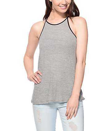 Zine Lawrence Ribbed Gray & Burgundy Trim Tank Top