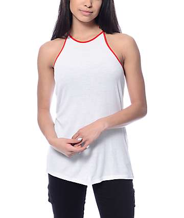 Zine Lawrence Ribbed Red Trim Tank Top