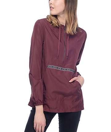 Zine Layna Jacquard Tape Burgundy Pullover Windbreaker Jacket