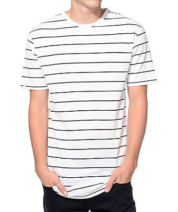 Zine Lifelong White and Black Stripe Curved Hem Long T-Shirt