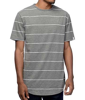 Zine Lifelong camiseta alargada rayada en gris y blanco