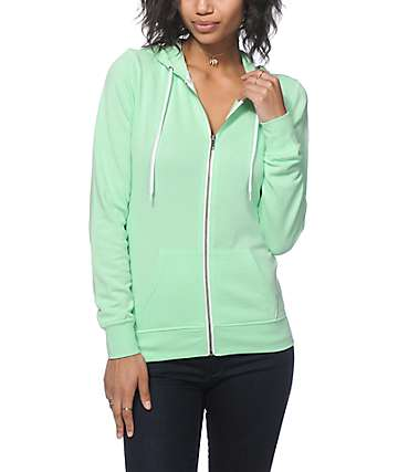Zine Light Lime Zip Up Hoodie