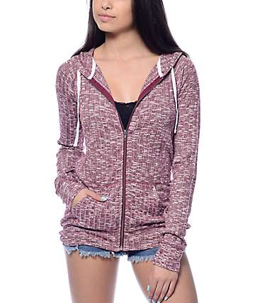 Zine Light Weight Blackberry Ribbed Full Zip Hoodie