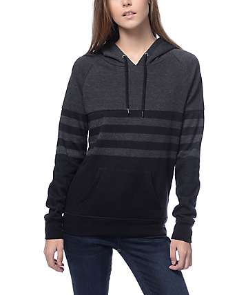 Zine Lizzie Black & Charcoal Striped Hoodie
