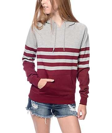 Zine Lizzie Burgundy & Grey Stripe Pullover Hoodie