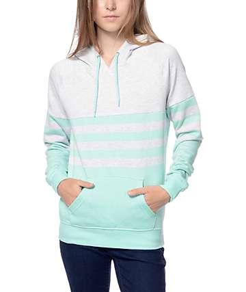Zine Lizzie Mint & Grey Stripe Pullover Hoodie
