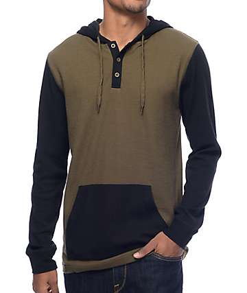 Zine Long Winter Olive & Black Hooded Henley Long Sleeve T-Shirt