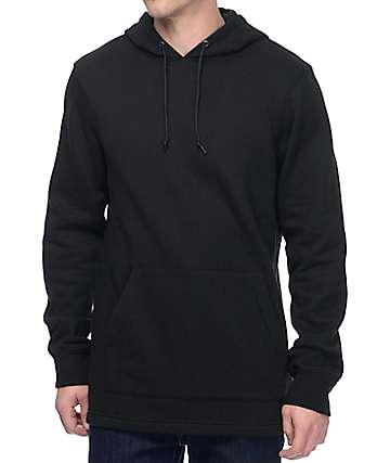 Zine Longline Fleece Black Pullover Hoodie
