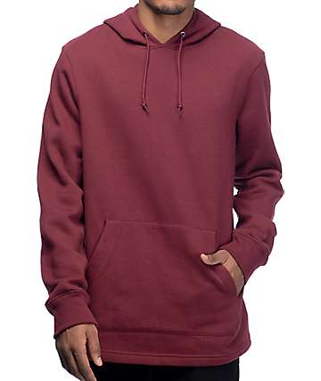 Zine Longline Fleece Dark Red Pullover Hoodie