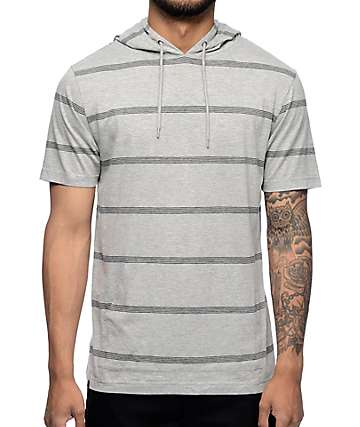 Zine Manhattan Grey Stripe Short Sleeve Hooded T-Shirt